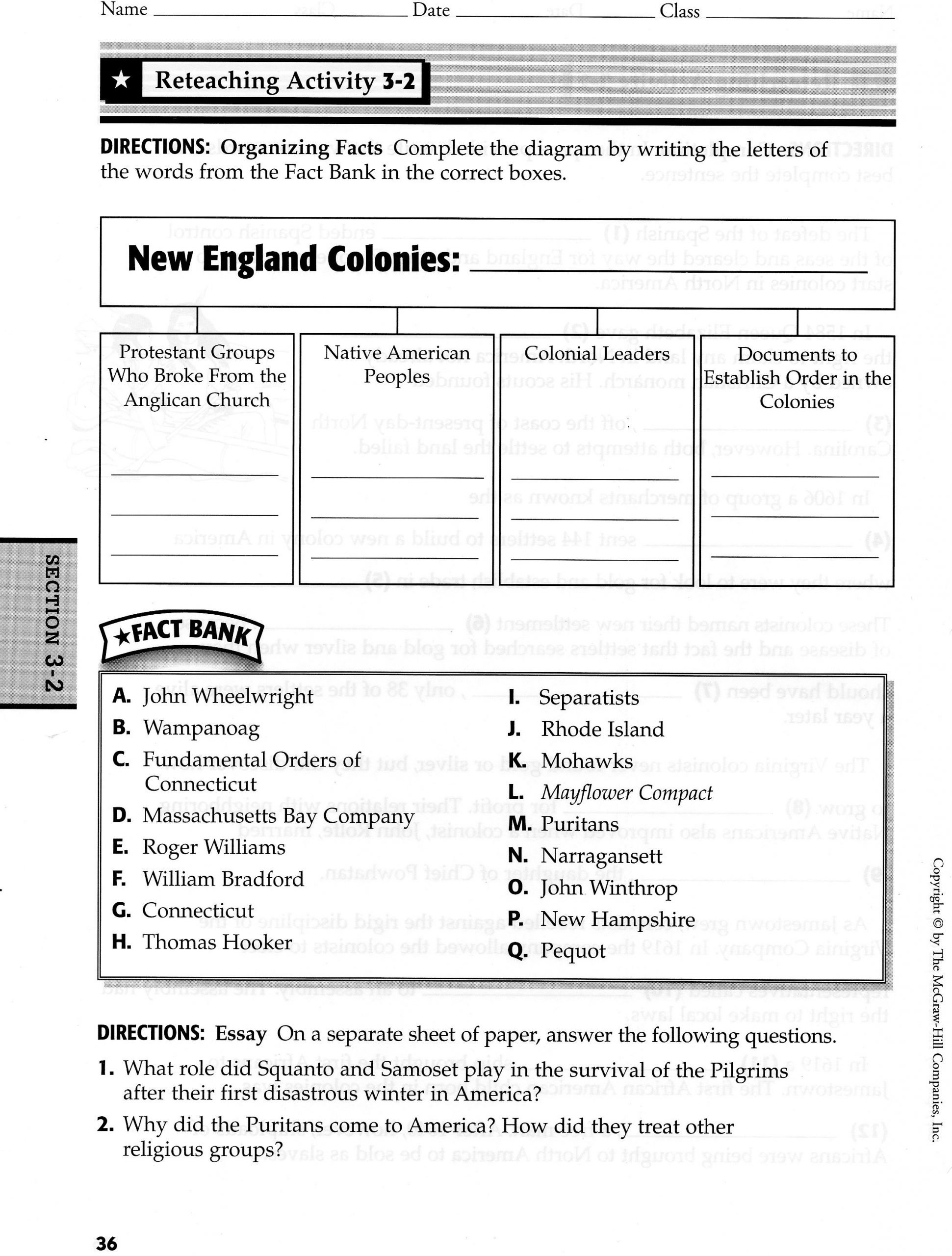 Slavery In The Colonies Worksheet