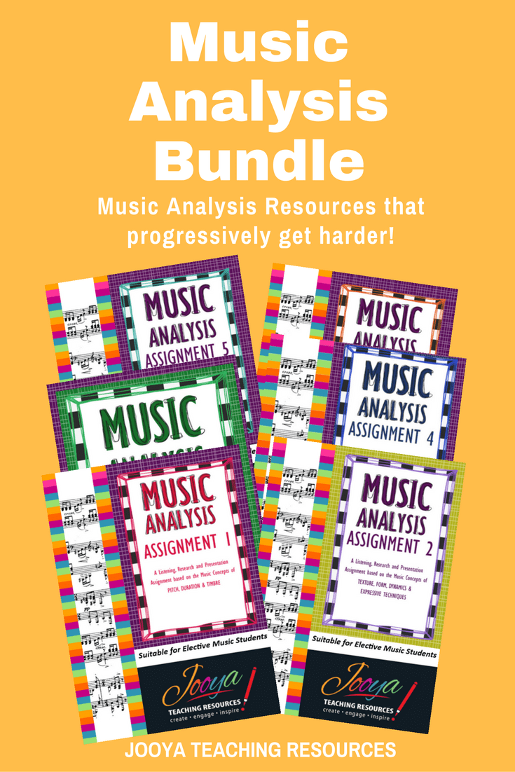 Music Analysis Bundle from Jooya Teaching Resources. This Bundle contains SIX different assignments, each one getting progressively harder than the last! Fantastic resource for busy music teachers and helping your students succeed with preparing for a Viva Voce. Suits Elective Music students Years 9 to Year 12.