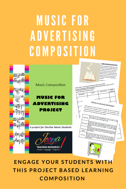 Music for Advertising Composition Assignment from Jooya Teaching Resources. Students create and record an advertisement for a real or imaginary product.