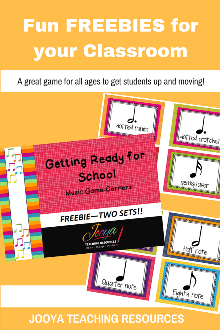 FREE Corners Music game from Jooya Teaching Resources. Download this fun, free game now! It is ready for you to print and play today in your music classroom. Get your students moving, learning and having fun today.