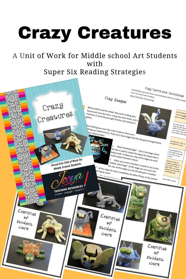 Crazy Creatures Unit of Work for Visual Arts students by Jooya Teaching Resources. Save yourself time and effort, with all of the preparation and planning done for you! The unit includes theory, critical analysis and practical activities with all marking rubrics included. Just print and teach!