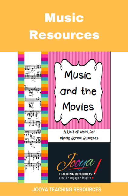 Music and the Movies Unit of Work for Middle School students from Jooya Teaching Resources. Includes the Super Six reading strategies, listening tasks, assignment and more. You just have to print and teach – all the planning done for you.