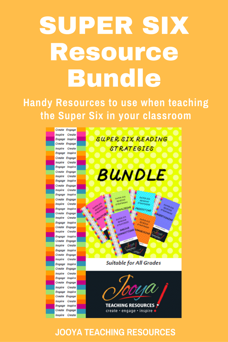 Super Six Reading Strategies Bundle by Jooya Teaching Resources. This resource will help you save time and $$$ when planning for using the Super Six in your classroom. Suitable for use with any text, and for all ages.
