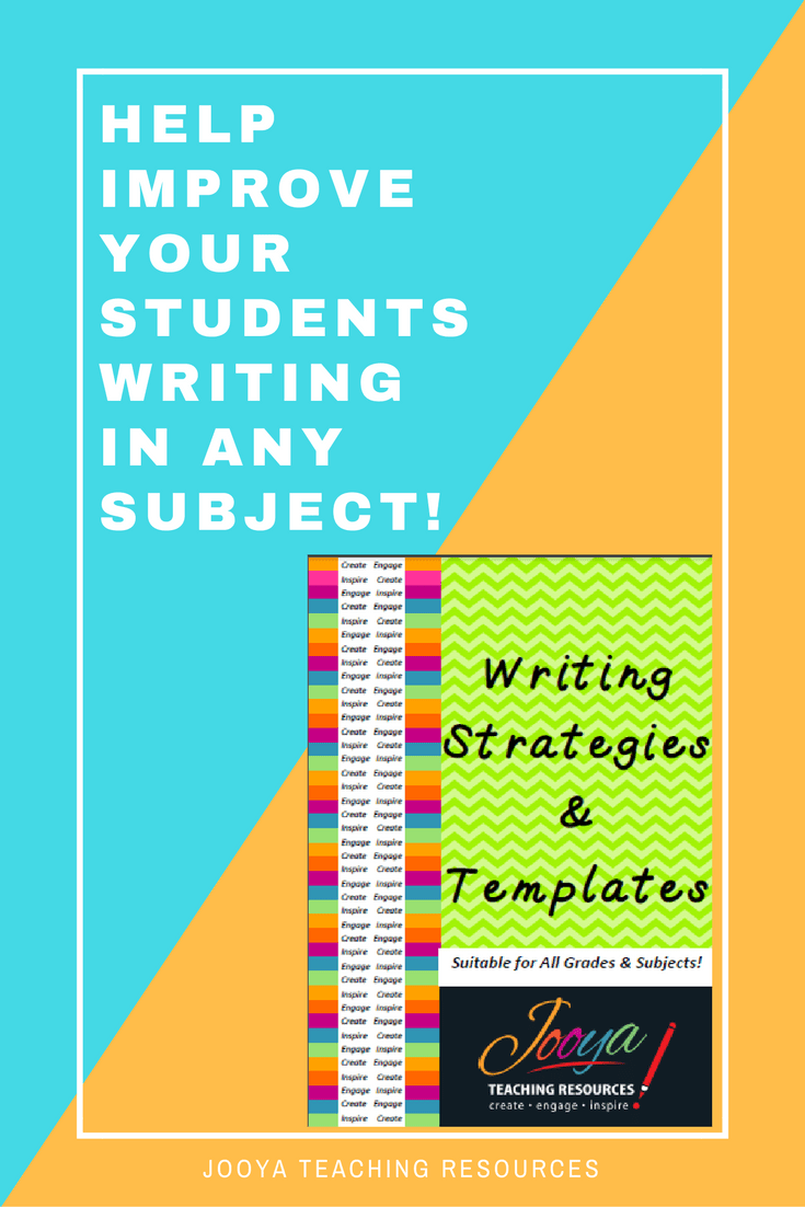 Writing Strategies and Templates for improving paragraph and essay writing skills by Jooya Teaching Resources. Great for middle school and older students. Can be used with any subject or text.