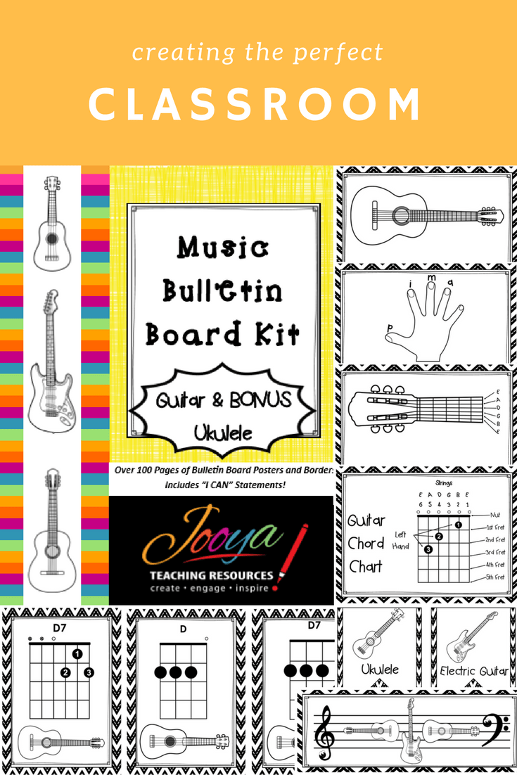 Guitar and Ukulele Bulletin Board Bundle by Jooya Teaching Resources. Save yourself hours and $$$ with this value packed kit. It includes alphabet bunting, borders, large and small format instruments/chords/diagrams and I can statements. You can mix and match with other kits throughout the year and it will always look great. Print onto colored paper to match your classroom décor OR have your students color each part and proudly display.