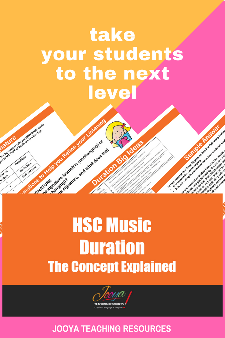 HSC Music 1 Aural Exam Resources by Jooya Teaching Resources. This video resource explains the concept of Duration. It includes definitions, explanations, samples and powerful strategies for students to use in the HSC Music 1 Aural Exam.