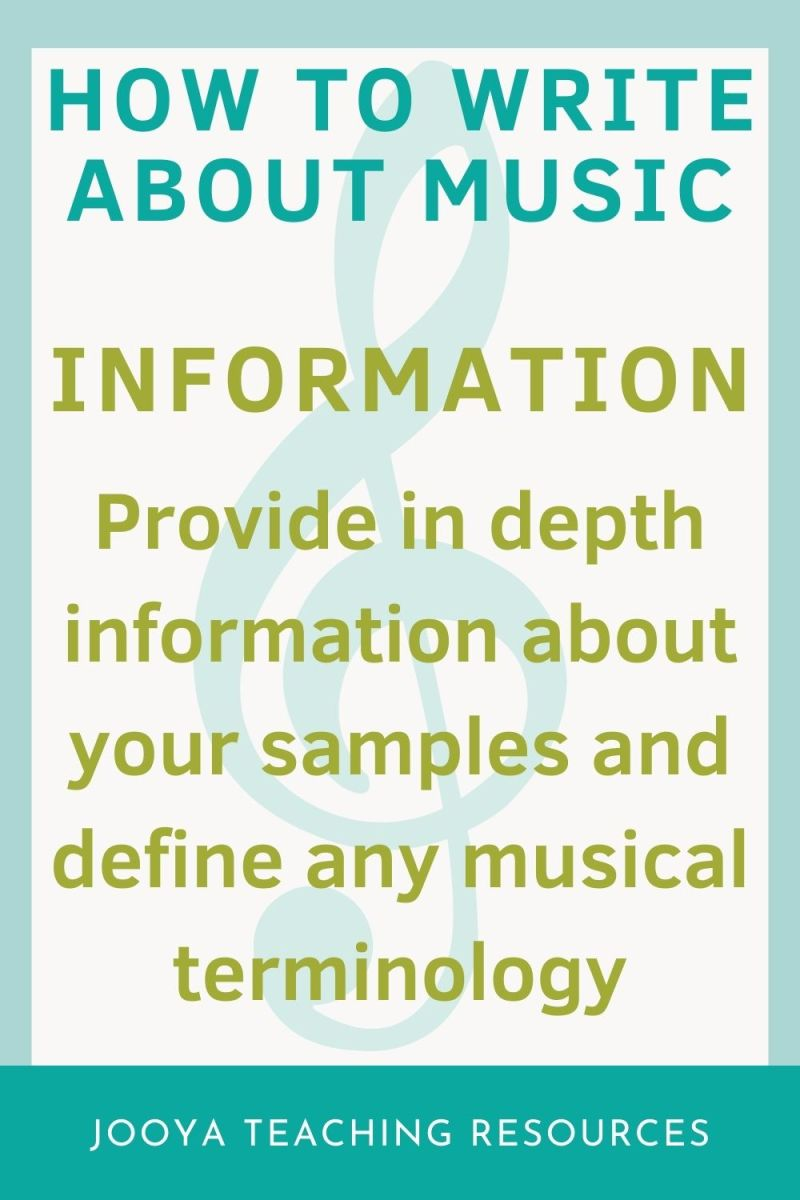 in depth information image for the how to write about music blog post