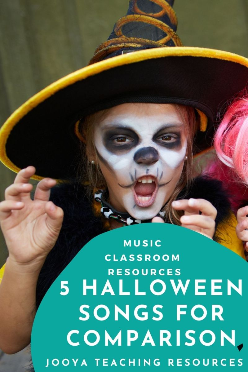 child wearing Halloween makeup pretending to look scary pin image