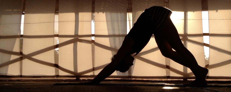 Yoga teacher practicing Downward Facing Dog in Yoga Studio