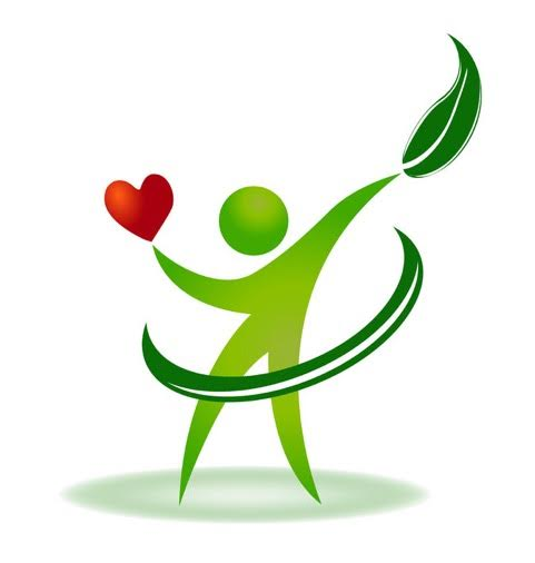 Graphic of person holding heart and leaf