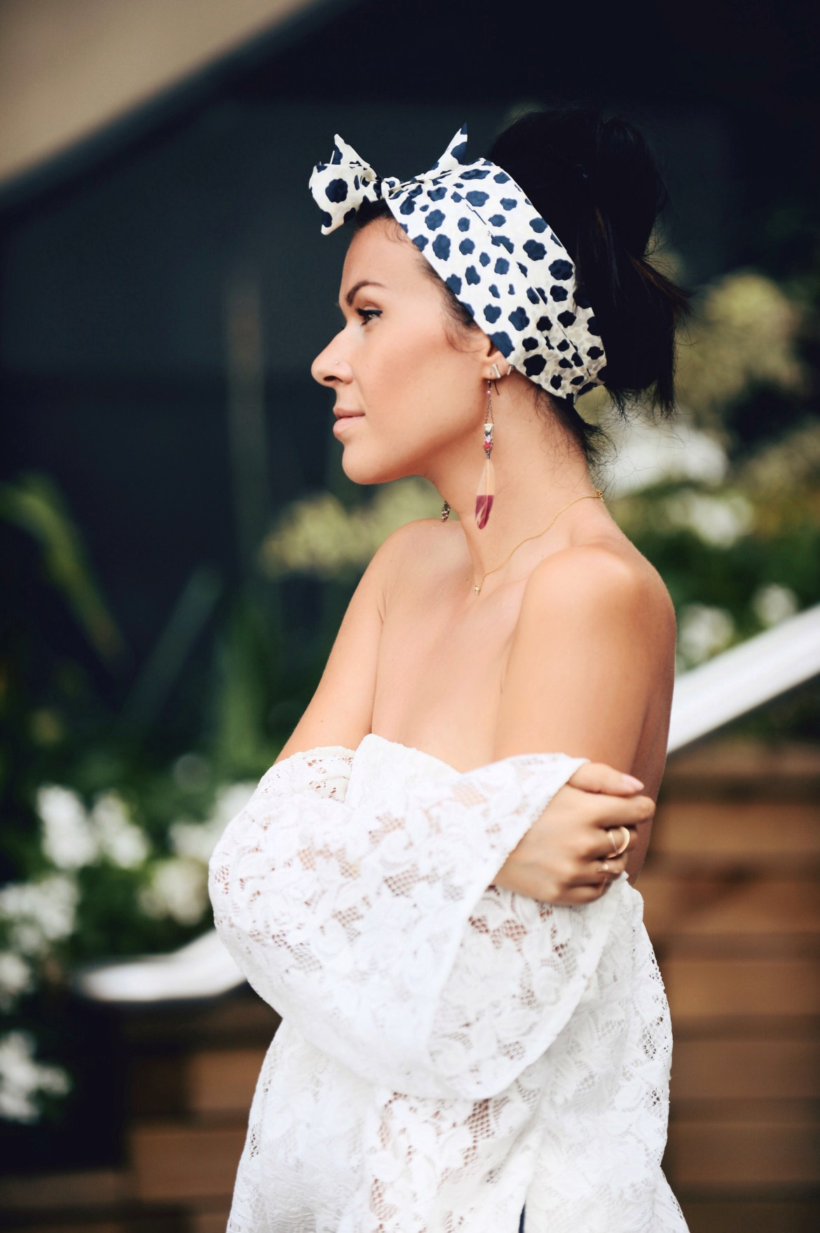 head scarf and lace dress