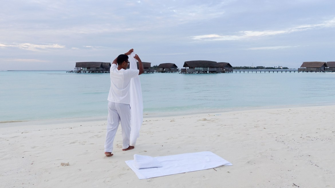 sunrise yoga in Maldives