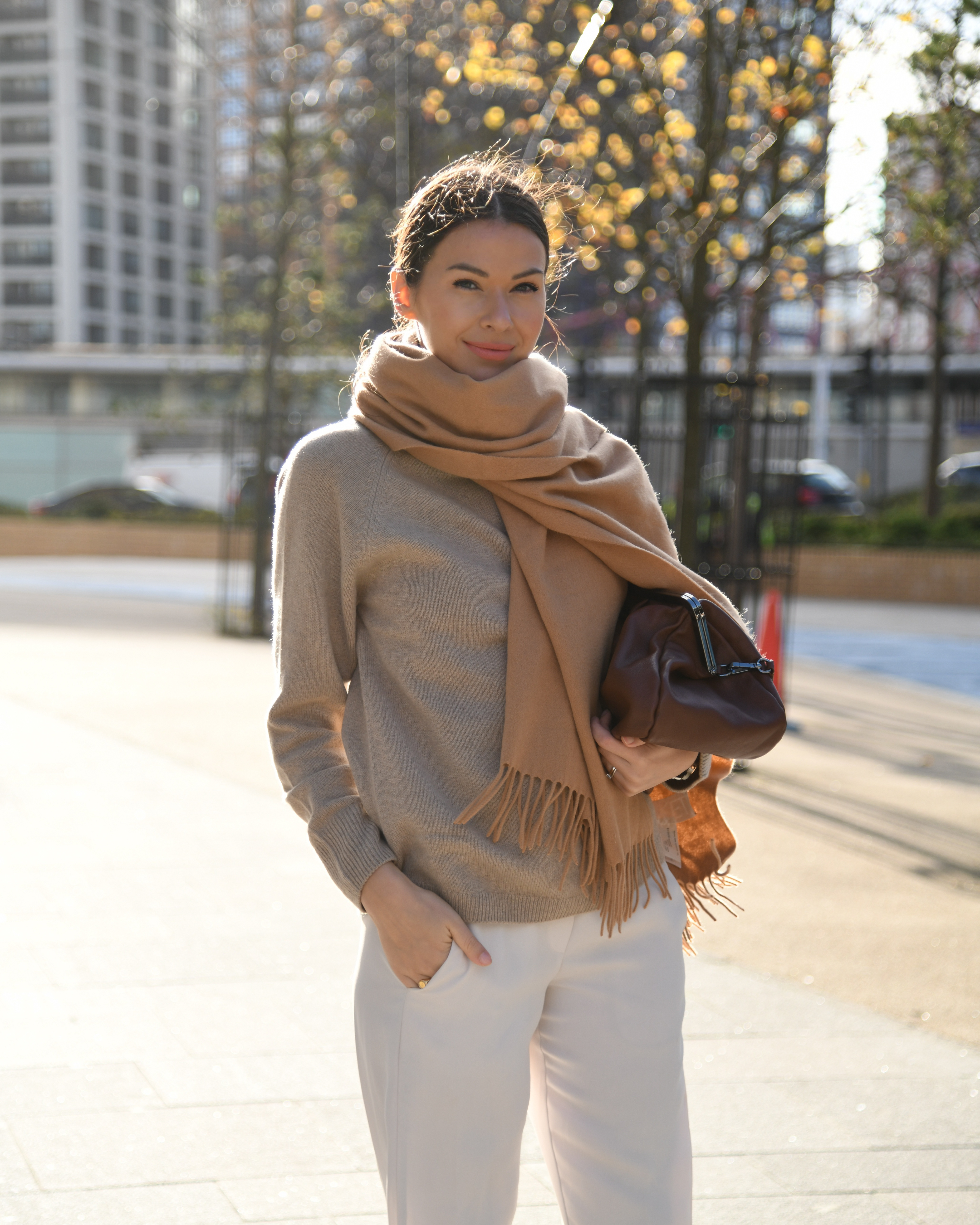 sweater and a chunky scarf