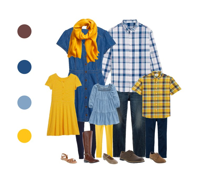 outfit guide for family session - pop of color