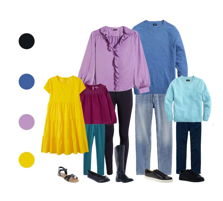 outfit guide for family session - bright colors