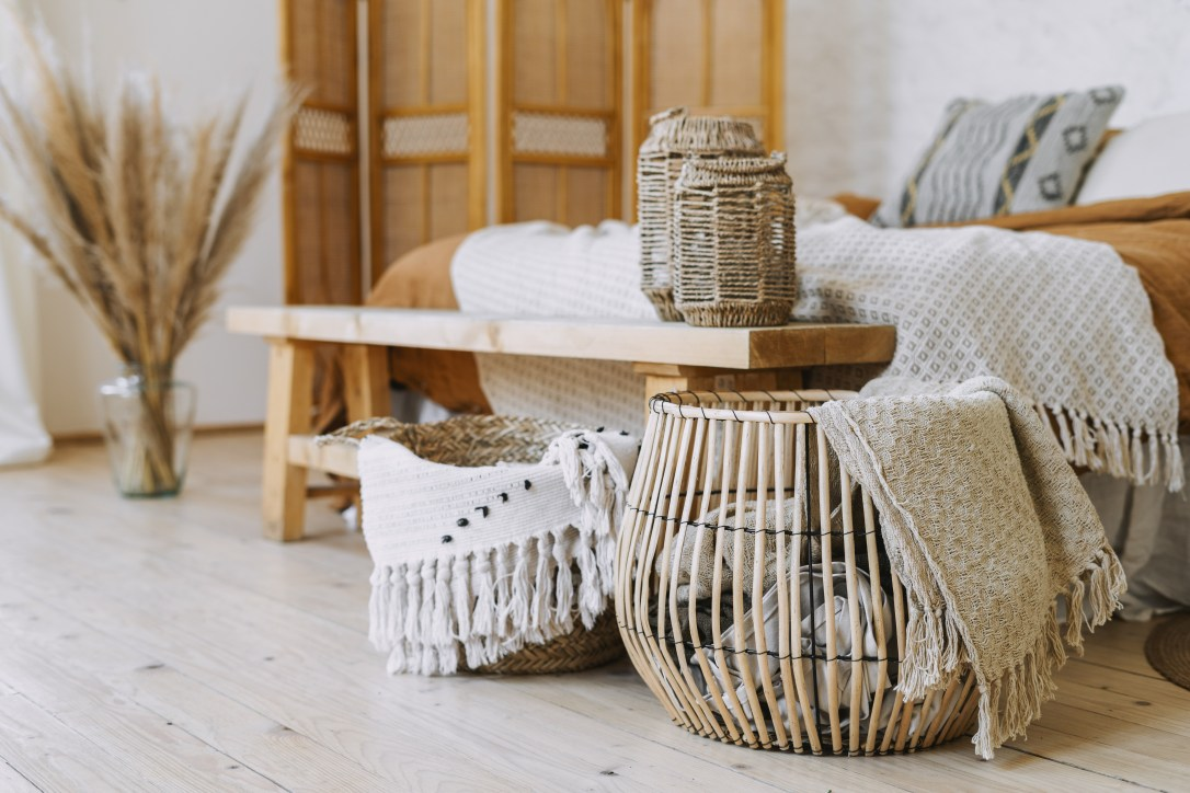 Baskets and bins help you tidy up for last-minute home showings.