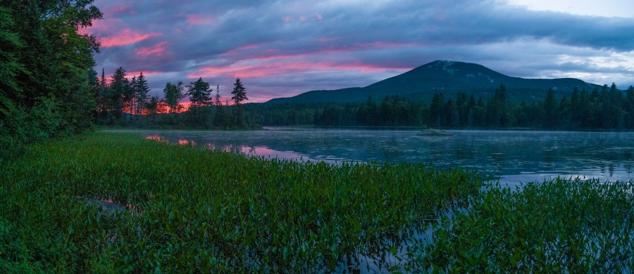 Sunset over Lake Durant, with Blue Mountain in the background. Lake Durant Campground, Adirondack Park, Blue Mountain Lake, NY.