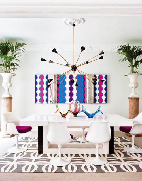 living-pink-Madrid-mod-dining-room-Saarinen-chairs-pop