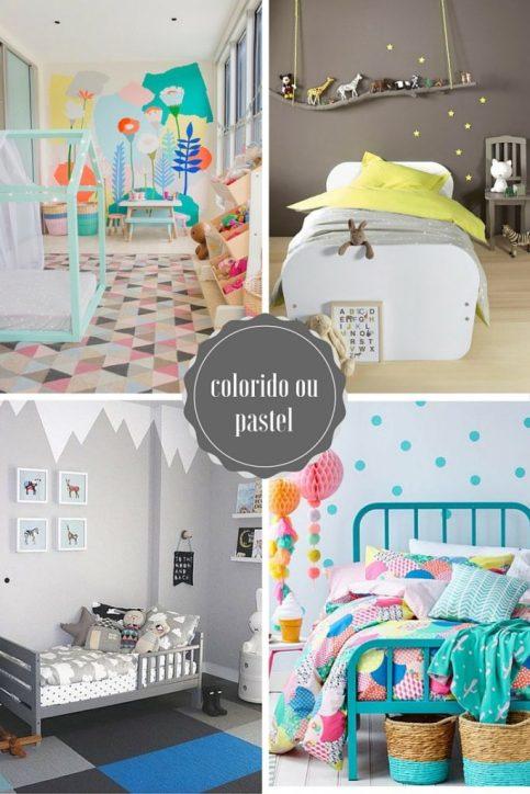 Colorido ou pastel - Quem disse que quarto de criança tem que ser sempre aquela coisa apagada, em tons bege, pasteizinho, verdinho clarinho, tudo bem discretinho?