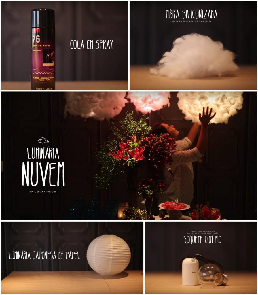 DIY - A luminária nuvem não é tão difícil de fazer quanto parece e o efeito é maravilhoso. Imagine um cantinho num quarto de bebê... que lindo!