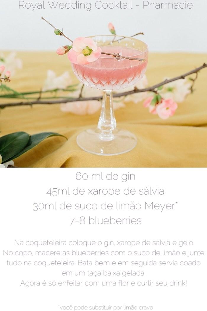 """Aqui vai a segunda receita da série """"Os drinks mais lindos do Instagram"""", do site Pharmacie LA: o Royal Wedding Cocktail. Um drink digno da nobreza!"""