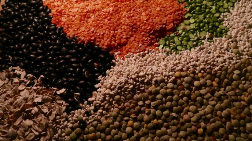 Various colorful legumes.