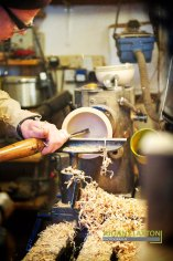 Andy shaping the inside of the wood as it spins at 2000rpm
