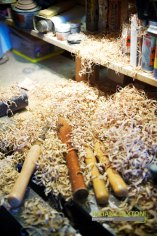 Andy's tools covered in shavings on his work bench