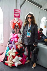 Penelope Cruz posing with La Robe de Victoire in support of breast cancer research
