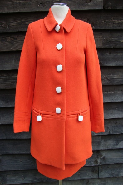 Orla Kiely orange wool coat and skirt