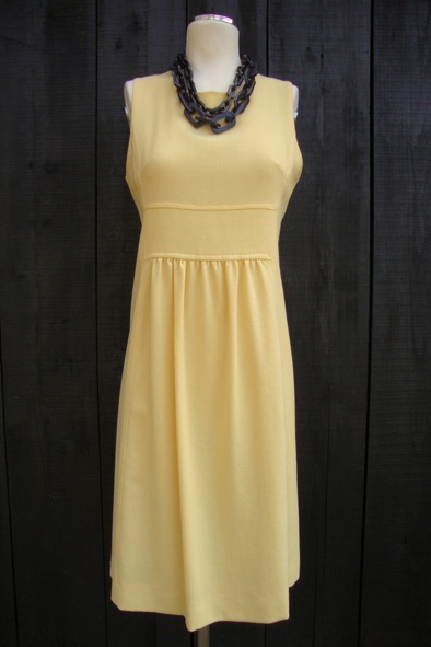 Goat wool crepe yellow shift dress