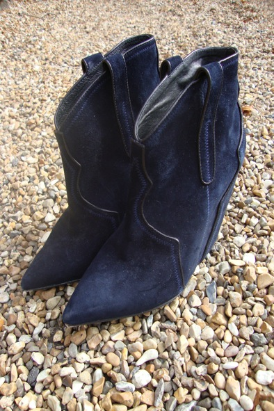 """ASH """"Janet"""" midnight suede wedge boots"""