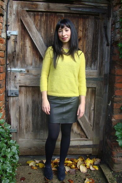 Jigsaw yellow seed stitch raglan jumper & Jigsaw leather mini skirt