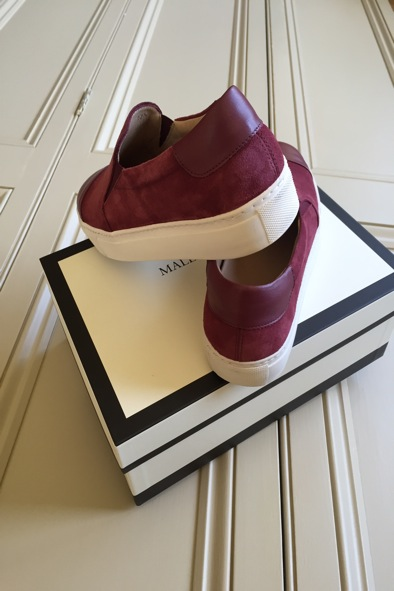 Malene Birger burgundy leather and suede skater shoes
