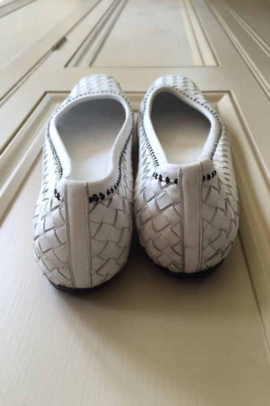 Bottega Veneta white woven pumps