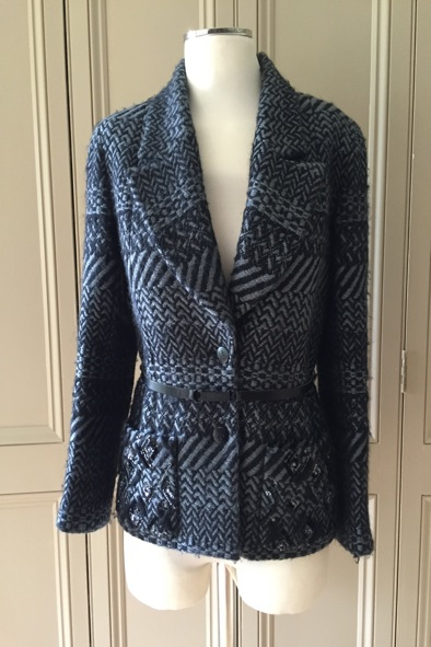 Chanel belted wool jacket with embellished pockets