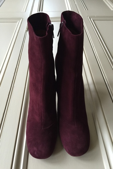 Celine burgundy suede boots with silver heel