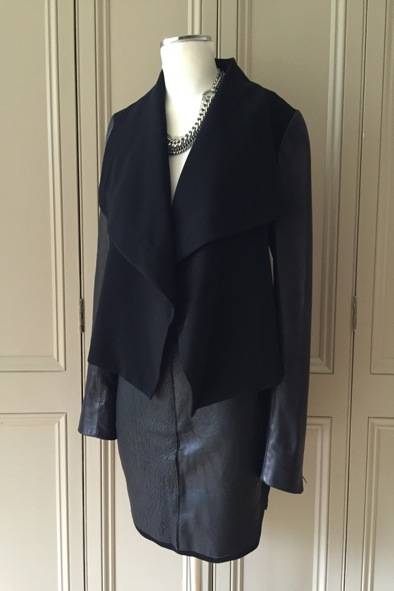 DVF contrasting jacket with leather sleeves