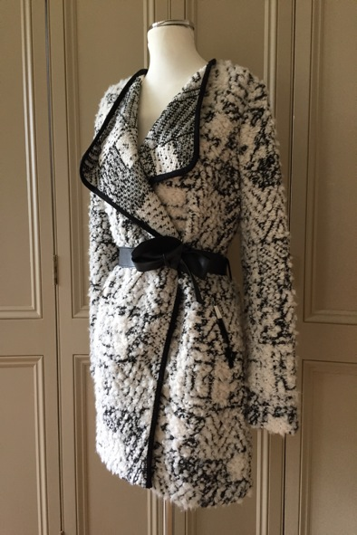 Pinko boucle coat with leather tie