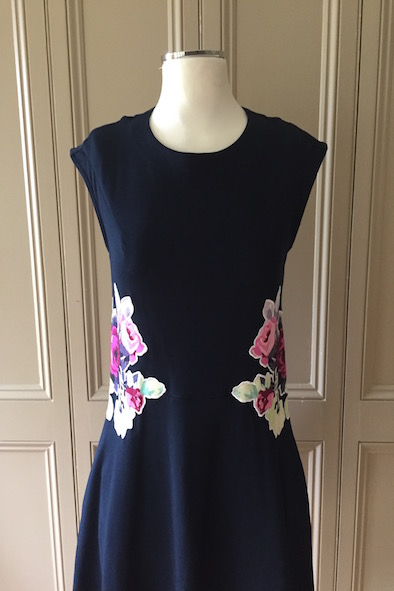 Carven navy jersey dress with appliqué flowers