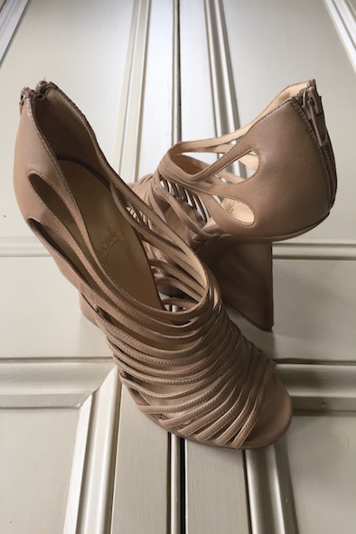 Christian Louboutin nude leather strappy wedges