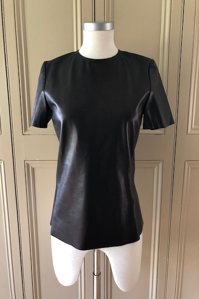 Celine black leather tee