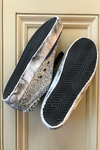 Golden Goose - silver glitter trainers with pony hair heel, blue leather star & blue velvet laces