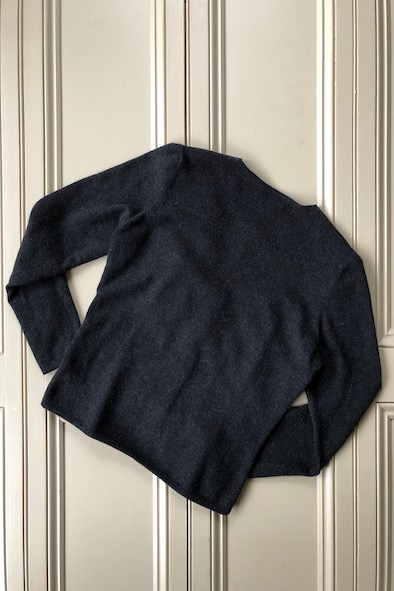 Brunello Cucinelli buttersoft black leather jacket with grey cashmere arms & back