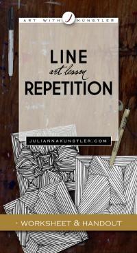 Line Repetition Design. Art lesson.