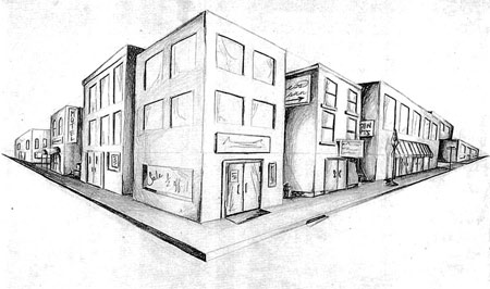 Draw a city block in 2 point perspective. Art lesson.
