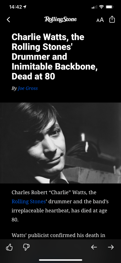 screenshot made by Julian Gude of his instagram feed showing Rolling Stone Magazine article announcing death of Charlie Watts death at 80 years old on August 24, 2021