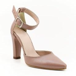 Sandale cu toc de 9 cm din box nude sidefat