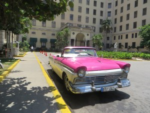 A 'yank tank' outside the historic National Hotel of Cuba.