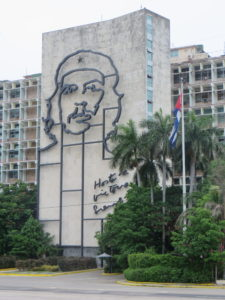 Sculpture of 'Che' on side of a building next to the Plaza of the Revolution.